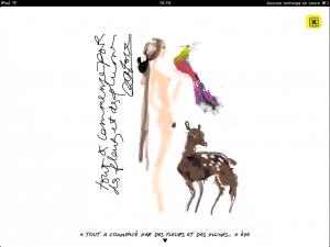 Croquis de Christian Lacroix sur l'application iPad ELLE