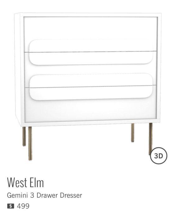 GEMINI 3 DRAWER DRESSER de WEST ELM à $499