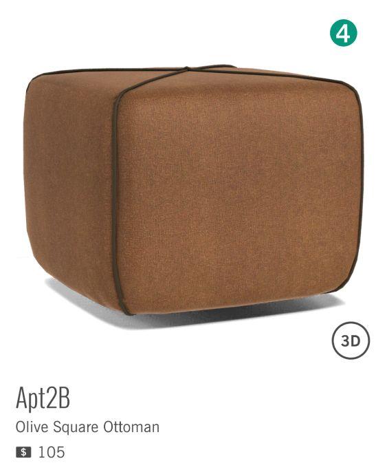 OLIVE SQUARE OTTOMAN d'APT2B est à $105