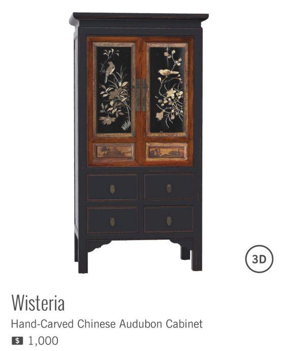 HAND-CARVED CHINESE AUDUBON CABINET à $1000 de la marque WISTERIA