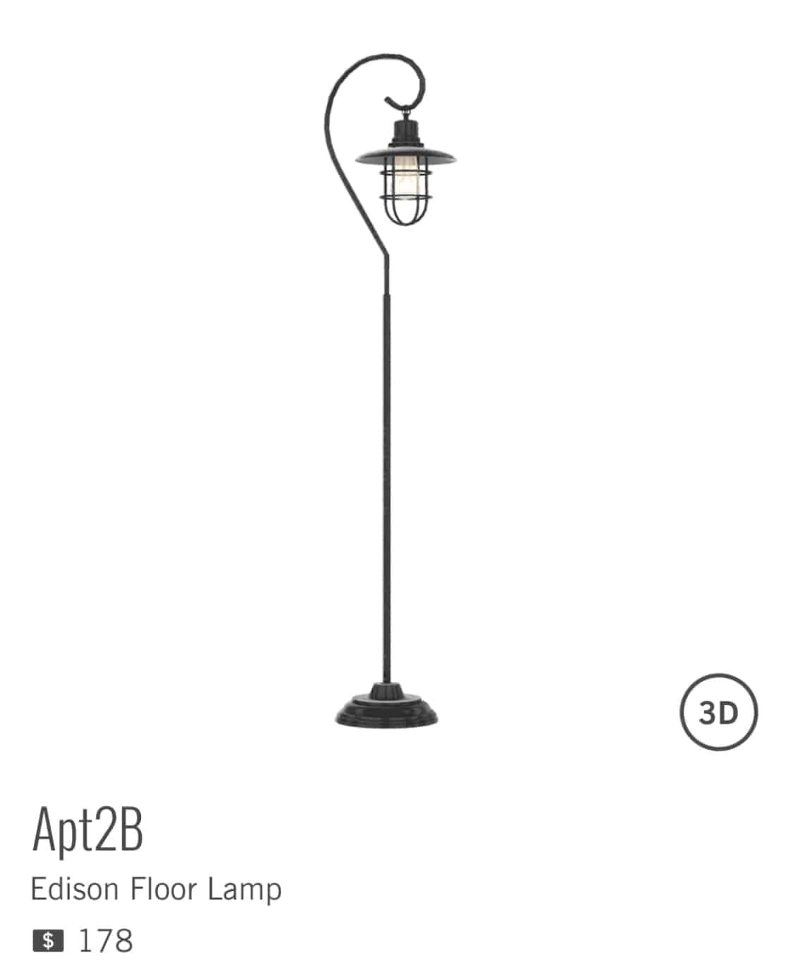 EDISON FLOOR LAMP de APT2B à $178